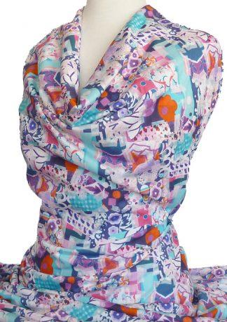 Knitwit Mercerised Cotton Jersey Knit Como Candy Aqua Fuchsia