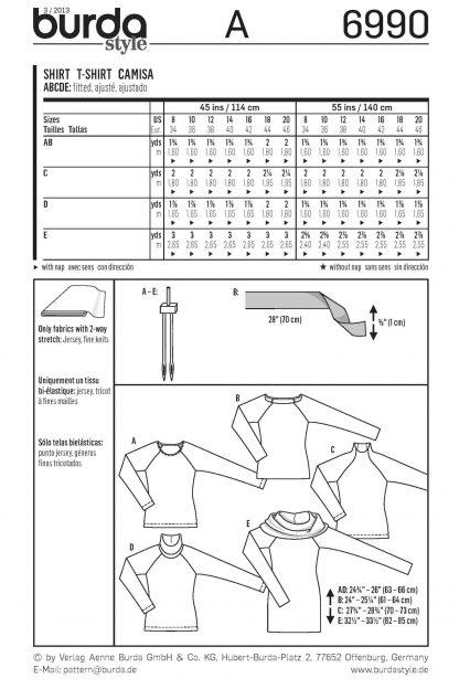 Burda Pattern 6990 Back