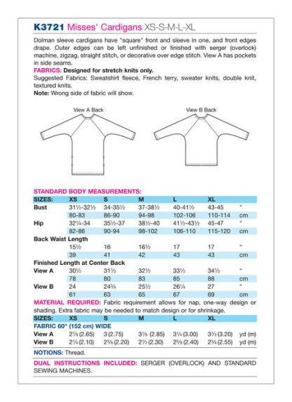 Kwik Sew 3721 Chart