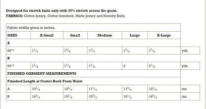 Kwik Sew Pattern 4189 Chart