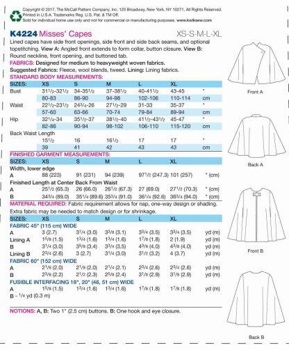 Kwik Sew Pattern 4224 Back