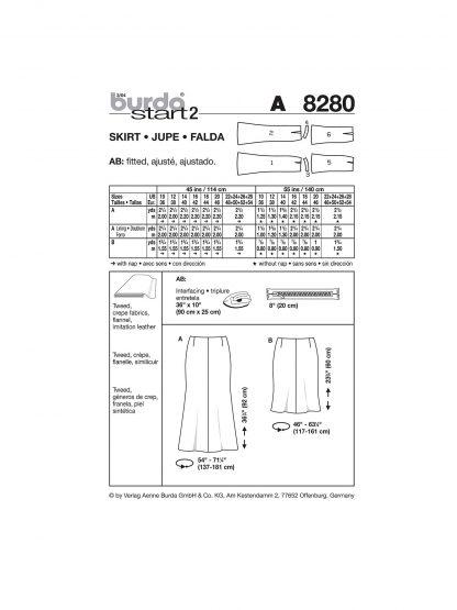 Burda Pattern 8280 Chart