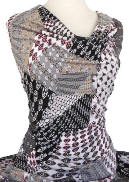 Printed Jersey Knit Denver Black Grey Beige