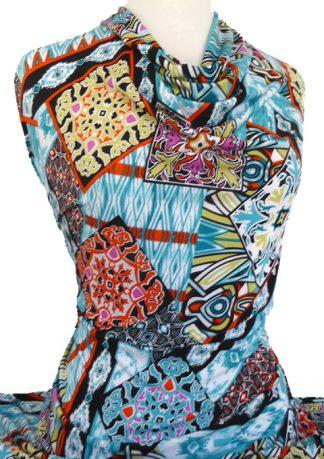 Printed Jersey Knit Malaga Aqua Orange
