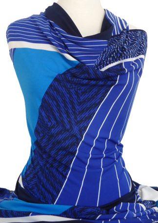 Knitwit Printed Jersey Knit Opera Blue