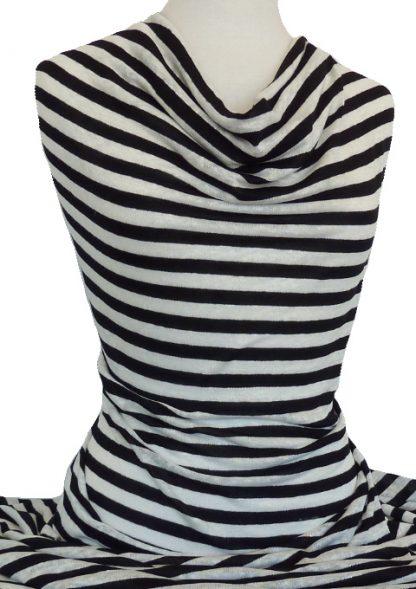 Italian Linen Jersey Stripe Black Off White