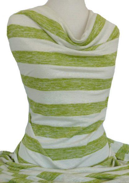 Italian Linen Jersey Stripe Lime Green Off White