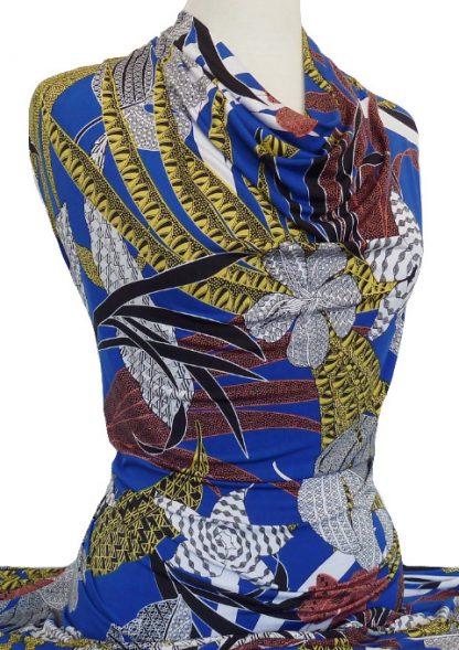 Knitwit Printed Jersey Knit Foliage on Royal Blue