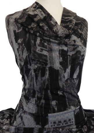 Knitwit Printed Jersey Knit Downtown Charcoal