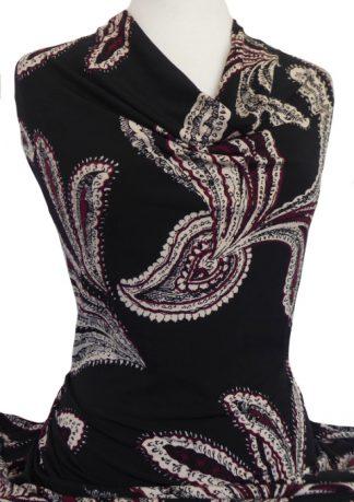 Knitwit Printed Jersey Knit Matinee on Black