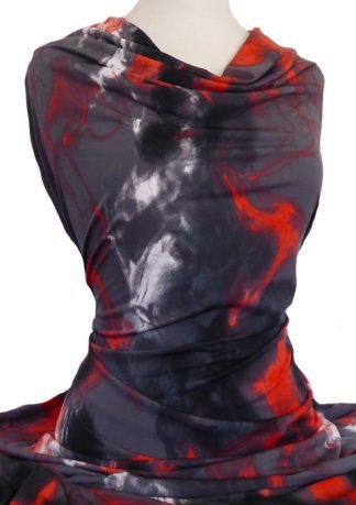 Printed Jersey Knit Marble Red Orange Grey