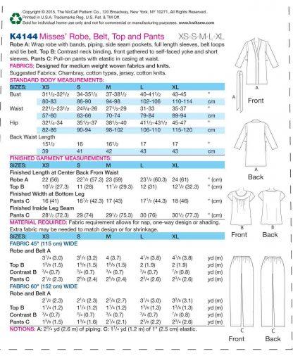 Kwik Sew Pattern 4144 Back