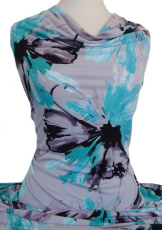 Printed Jersey Knit Fusion Grey Turquoise