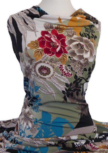 Printed Jersey Knit Kimono Floral Gold Foil