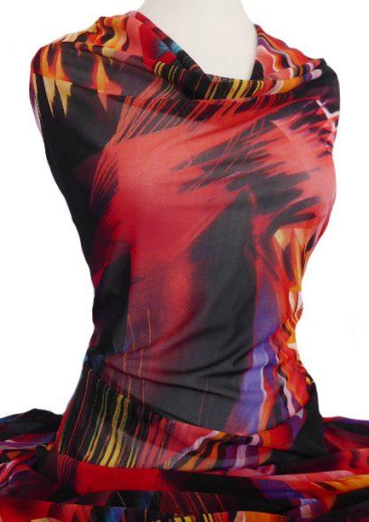 Printed Mesh Knit Fiona Orange Red Black