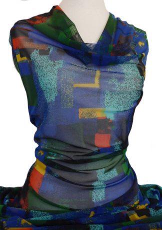 Printed Mesh Knit Priscilla Blue Green Orange