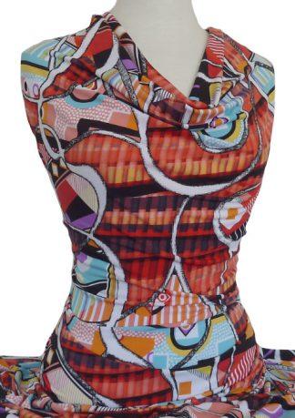 Knitwit Printed Jersey Knit Carnegie Orange