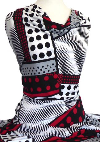 Printed Jersey Knit Dominion Black White Red