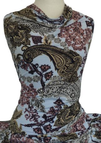 Printed Dry Handle Jersey Knit Lace Paisley