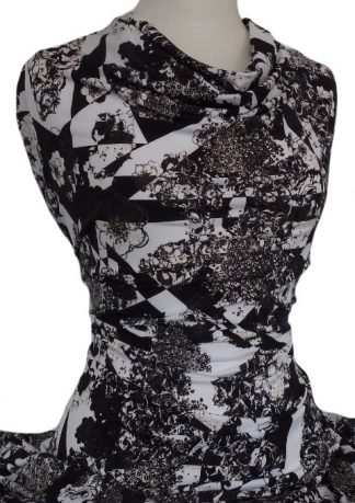 Printed Jersey Knit Henrietta Black White Beige