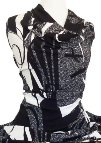 Printed Waffle Knit Chorus Black White Grey
