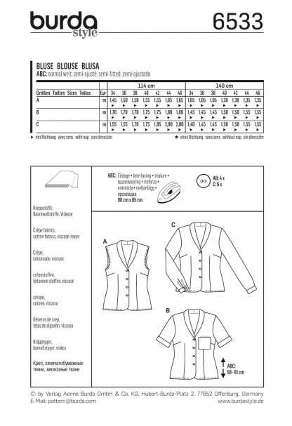 Burda Pattern 6533 Back
