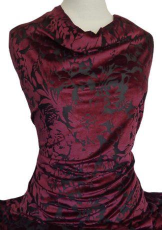 Knitwit Floral Burnout Velour Maroon