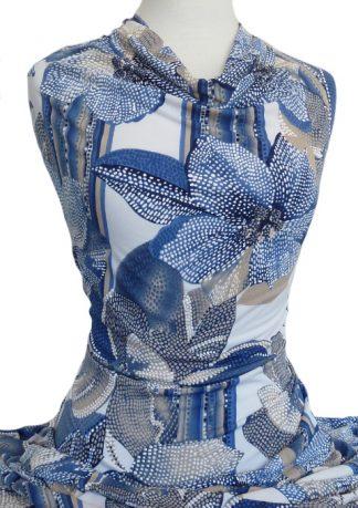 Knitwit Printed Jersey Knit Amelia Puff Blue Beige