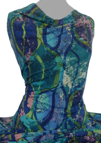 Knitwit Printed Jersey Knit Flavia Turquoise Royal Blue