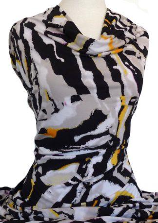 Printed Jersey Knit Zebra Yellow Black