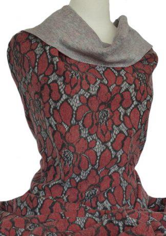 Vivienne Bonded Textured Knit Red Black