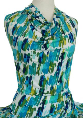 Printed Dry Handle Jersey Knit Canvas Lime Aqua