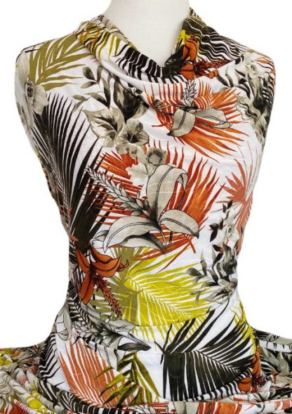 Printed Jersey Knit Maldives Embroidered