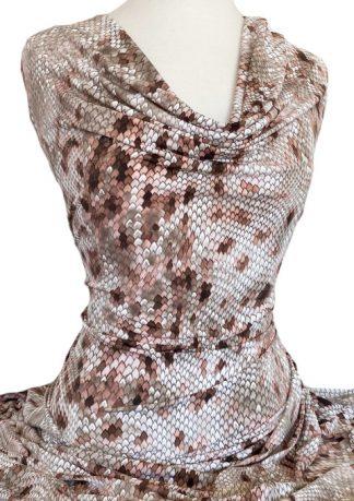 Printed Jersey Knit Sabrina Puff Print Beige
