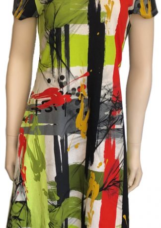 New Look 6597 Printed Cotton Jersey Sardinia Red Black Green