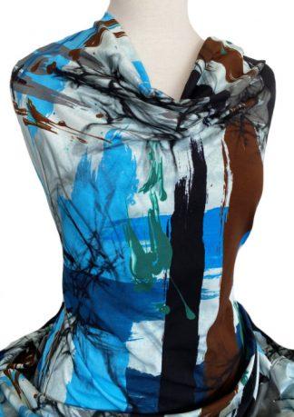 Printed Cotton Jersey Sardinia Blue Brown Black